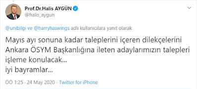 Prof. Dr. Halis AYGÜN yks adres değişikliği