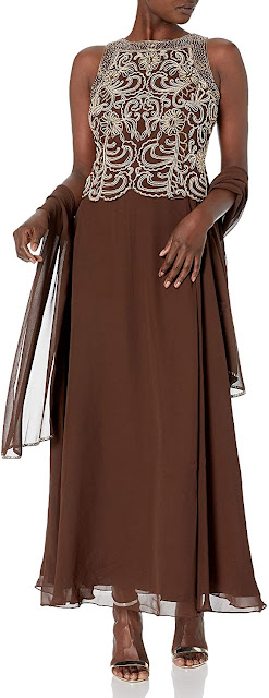 Brown Mother of The Bride Dresses with Scarf