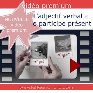 vidéo premium, l'adjectif verbal et le participe présent, FLE, grammaire, le FLE en un 'clic'