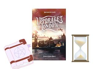 Omslagsbild på boken med en bok och ett timglas vid sidan