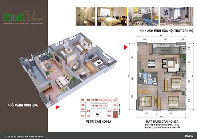 Thiết kế căn hộ 03A tòa HH2 chung cư ECO LAKE VIEW
