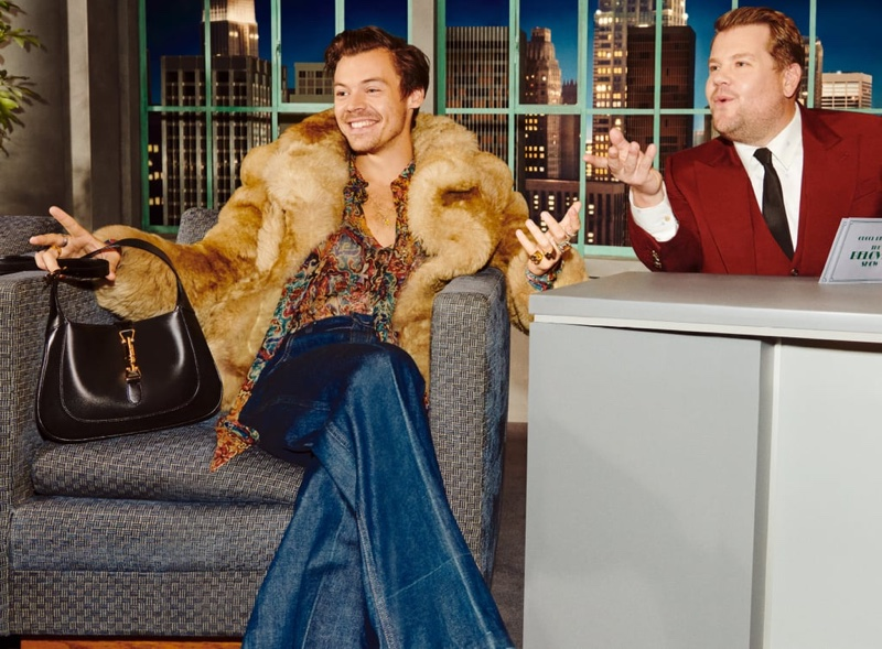 Harry Styles and James Corden pose for Gucci Beloved Talk Show handbag campaign.