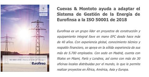 Cuevas y Montoto Consultores ayuda a Nuria Gutiérrez, Responsable de Calidad y Formación de Eurofinsa, a adaptar el Sistema de Gestión de la Energía de esta empresa a la versión de 2018 de la norma ISO 50001