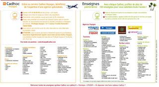 Listes des agences de voyages acceptant les chèques CADHOC