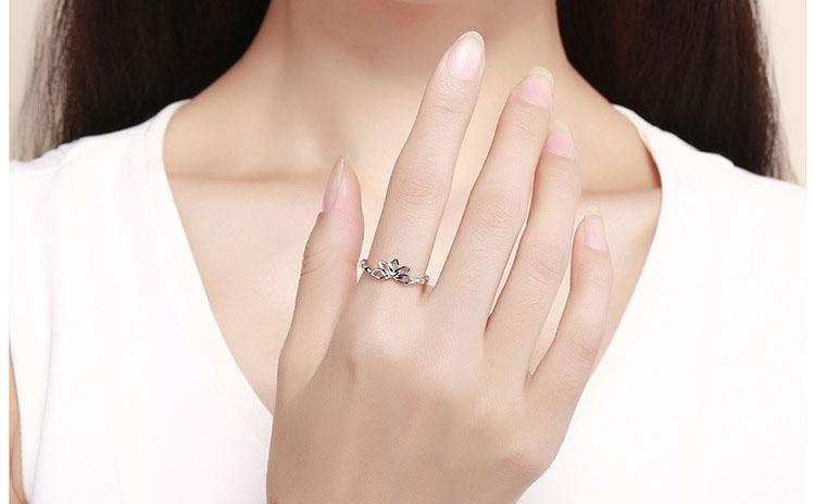 靜謐蓮花 925純銀戒指