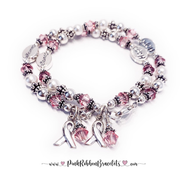 Courage and Hope Pink Ribbon Bracelets