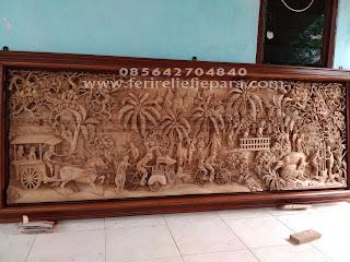 Ukir Relief Pedesaan di Borobudur