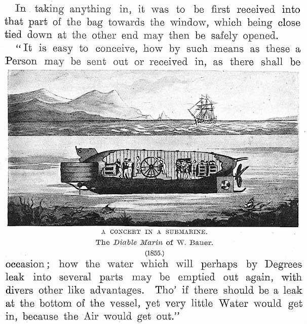 an 1855 submarine concept illustration and text, 52-foot iron submarine Le Diable-Marin, Bauer