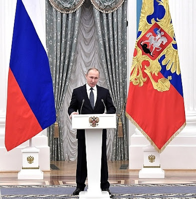 Vladimir Putin, Russian flags.