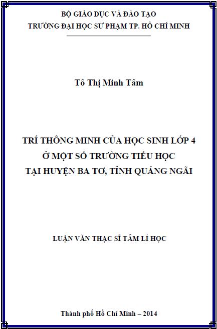 Trí thông minh của học sinh lớp 4 ở một số trường tiểu học tại huyện Ba Tơ tỉnh Quảng Ngãi