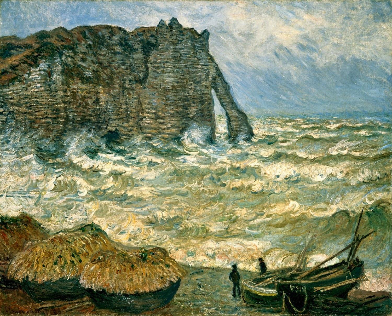 Mar Tormentoso em Étretat - Pinturas de Monet Claude | O Pai do Impressionismo