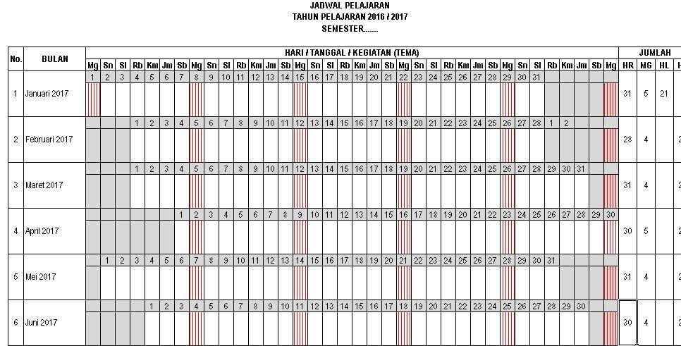 Download Aplikasi Microsoft Excel Jadwal Pelajaran Kurikulum 2013 untuk Tahun Ajaran 2016-2017