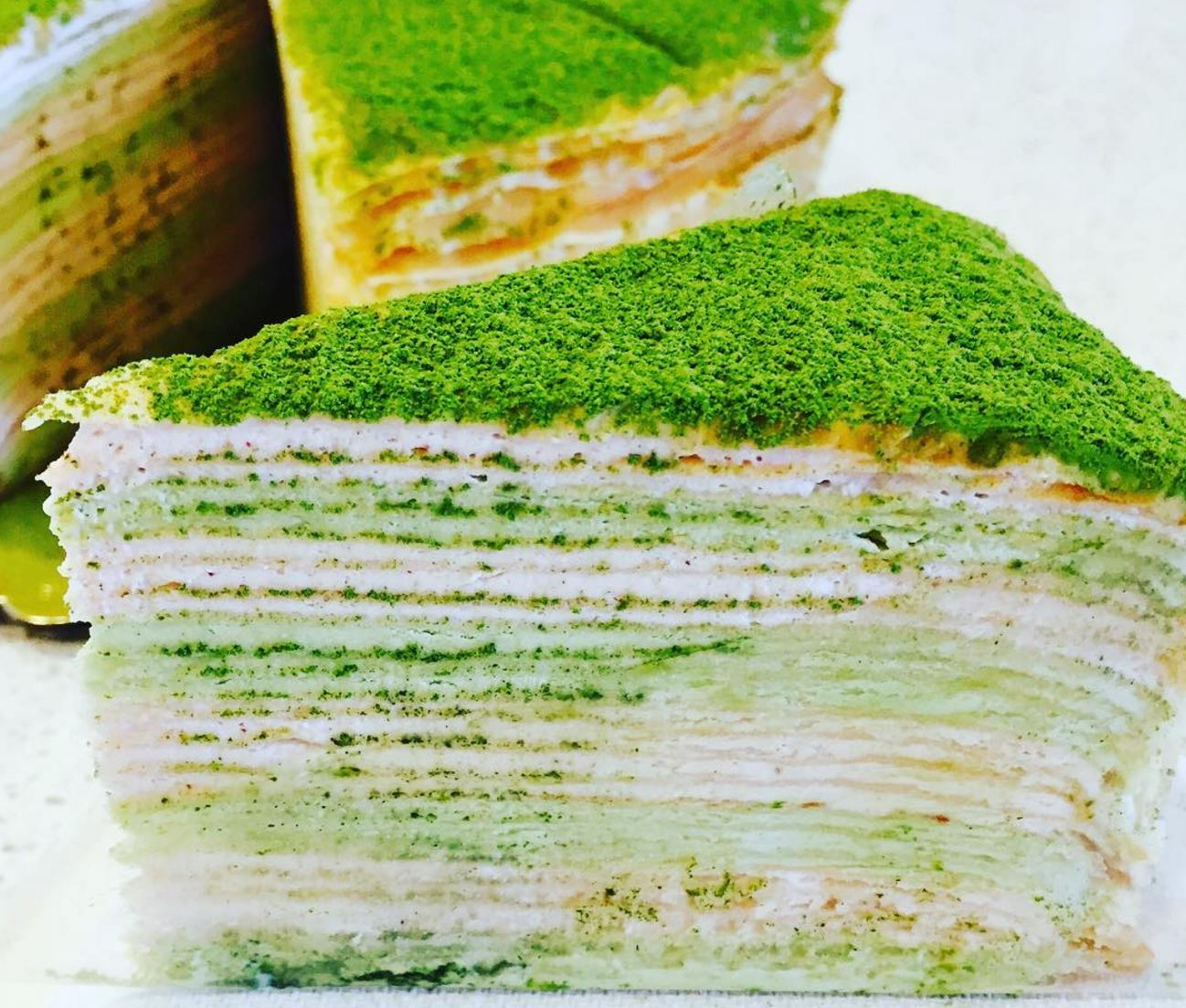Strawberry Matcha Mille Crepe Cakes Are Now A Thing @ TeaArias - Huntington Beach