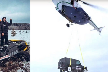 Russian Blogger Destroys His ₦120M MercedesAMG G63 SUV By Dropping It From Helicopter
