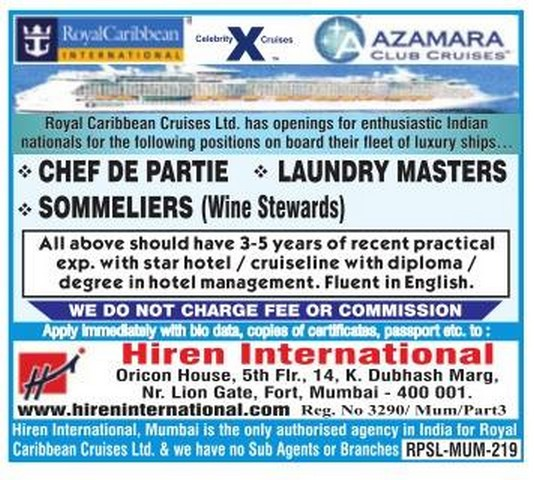 Royal Caribbean Cruises Large Job Vacancies Gulf Jobs