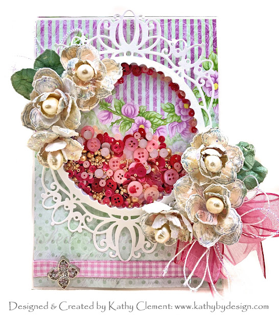 Heartfelt Creations Sweet Magnolia Shaker Card with Really Reasonable Ribbon by Kathy Clement