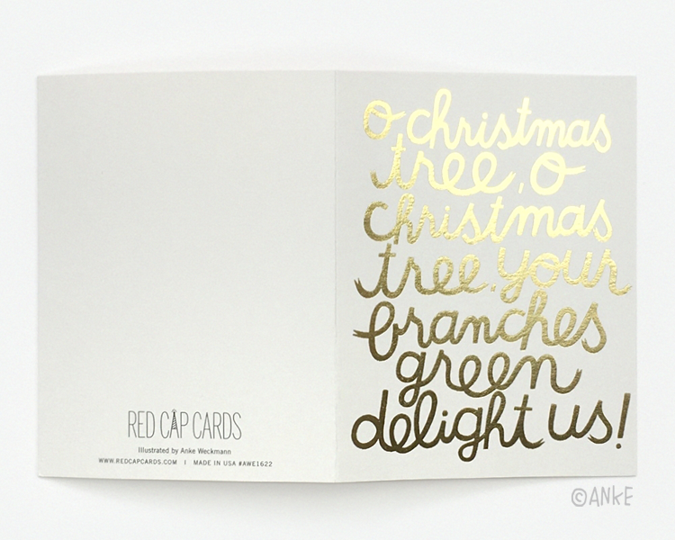 red cap cards gold foil christmas cards - Foil Christmas Cards
