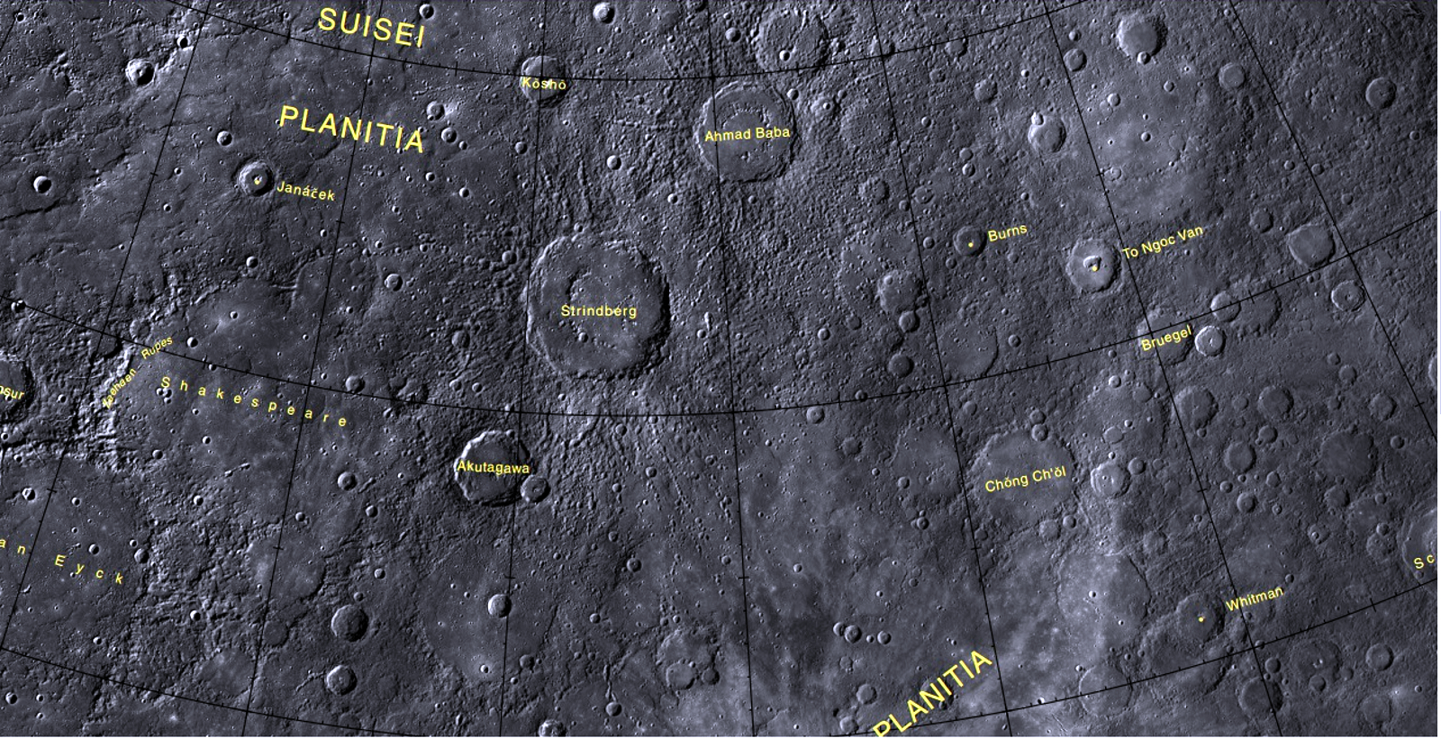 planetary names 15 millionscale maps of mercury - HD 1600×820