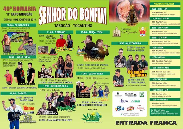 PROGRAMAÇÃO D0 40º SENHOR DO BONFIM E 11º EXPOSIÇÃO AGROPECUÁRIA DE TABOCÃO-TO