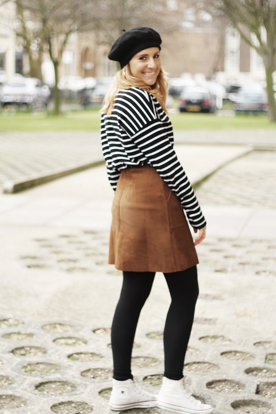 suede button-up skirt outfit