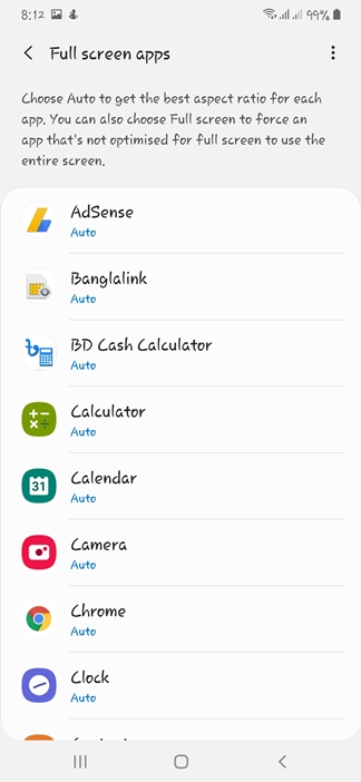 Full Screen Apps option on Samsung A50