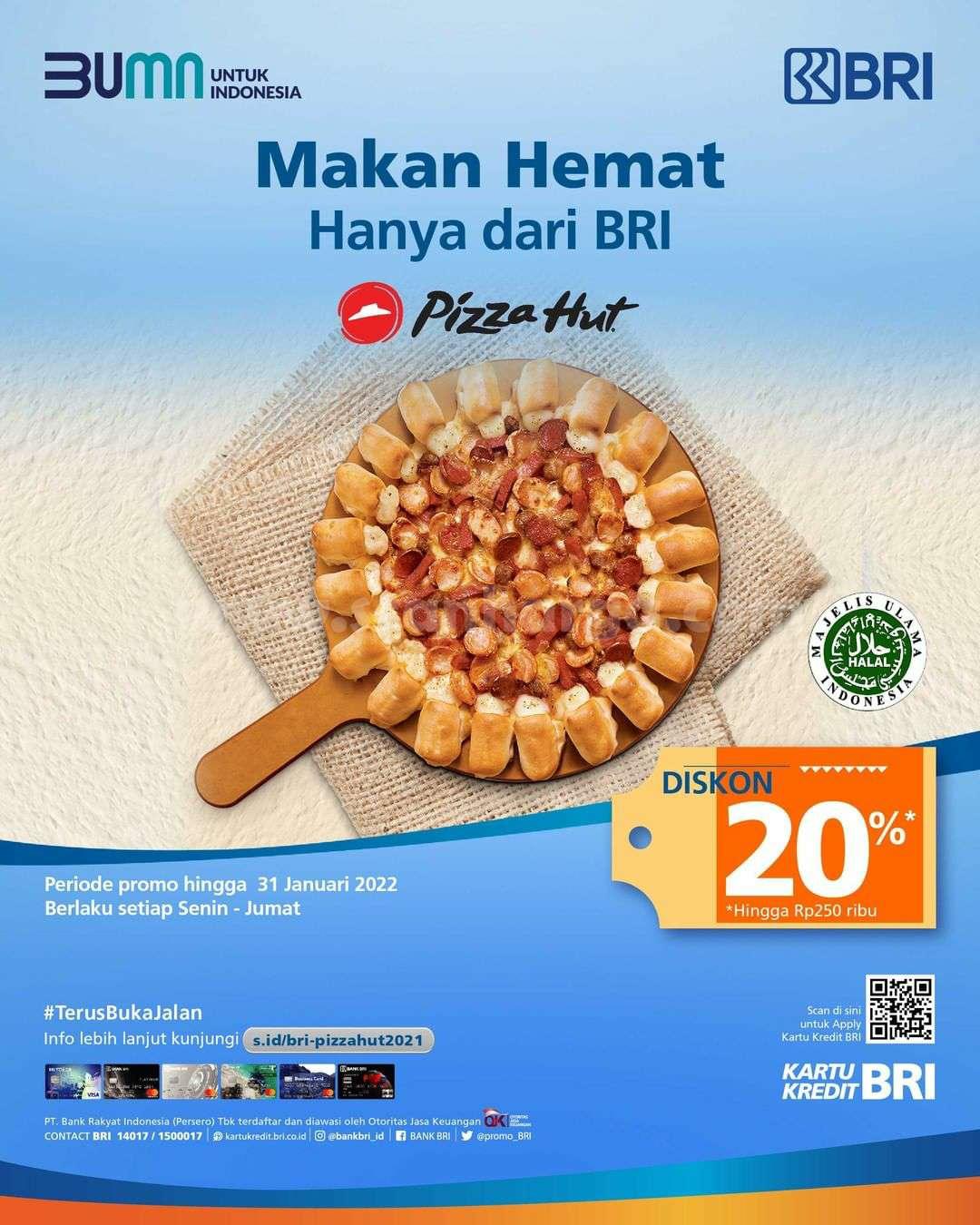 PIZZA HUT Promo Diskon hingga 20% dengan Kartu Kredit BRI