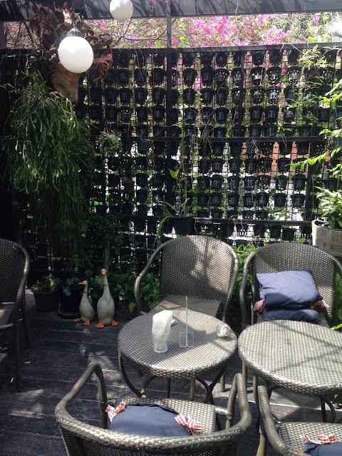 tea house gardens at Nikko Cafe in Bangkok, Thailand