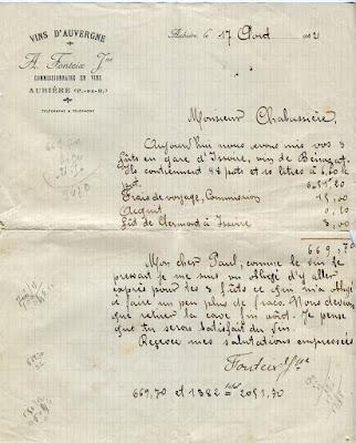 Vieux papiers : facture, Vins d'Auvergne