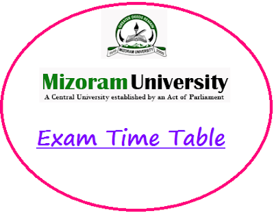 Mizoram University Time Table 2020