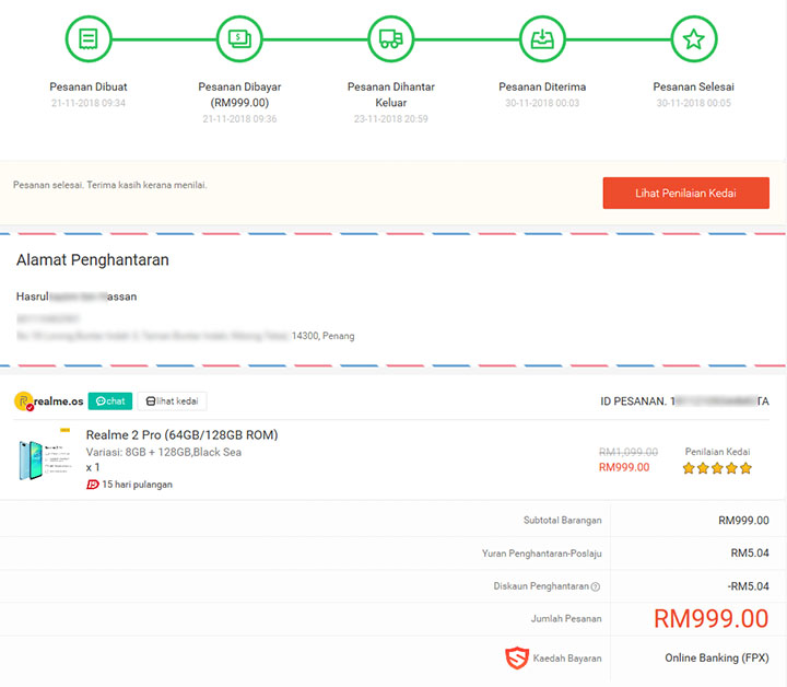 Realme 2 Pro Beli Online di Shopee