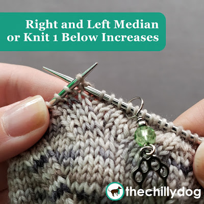 Knitting Video Tutorial: Right and Left Slanting Median or K1 Below Increases - A decorative way to increase stitches in your knitting.