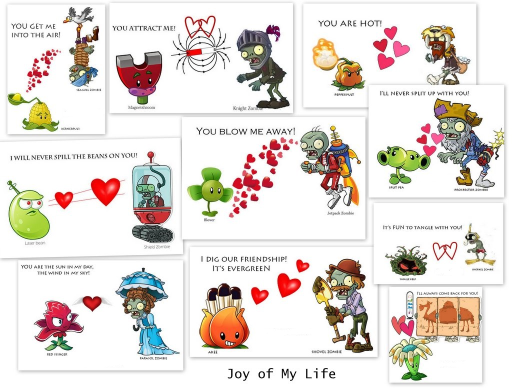 The Joy of My Life and other things Kids Cards Valentine Cards – Zombie Valentines Cards