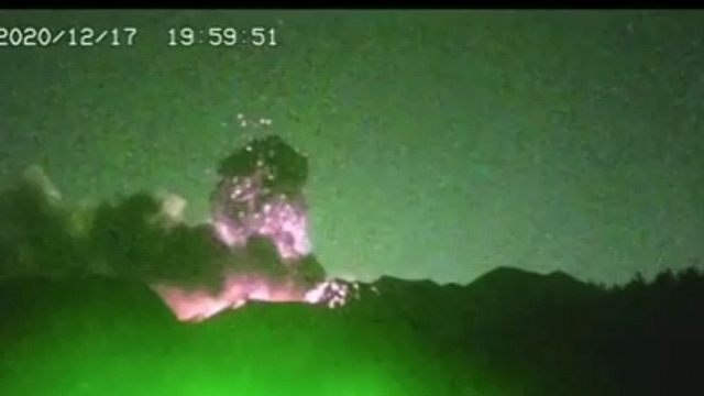 Green laser blows up a volcano in Mexico which is scary as can be.
