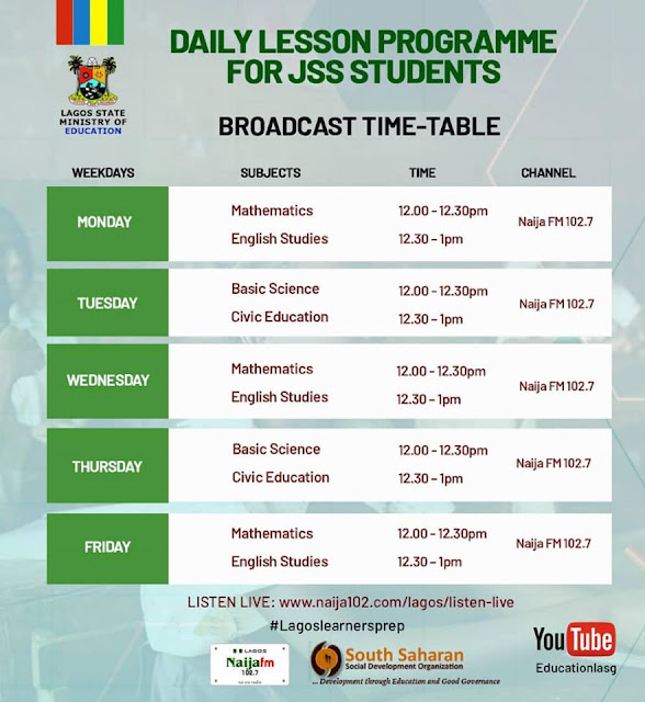 Lagos State Daily Lesson Program Timetable [JSS & SS3] | Radio, TV