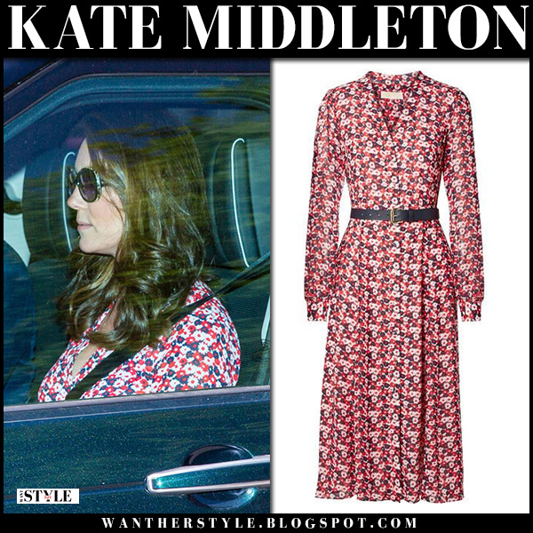 Kate Middleton in red floral print dress michael kors going to wedding rehearsal royal fashion may 17