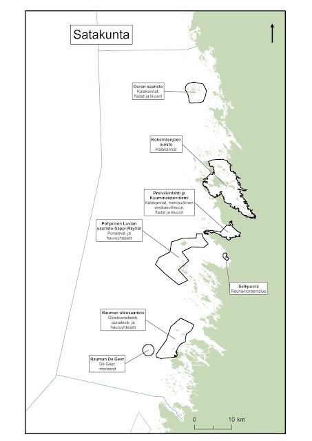 Kartta, johon on piirretty Selkämeren EMMA-alueet