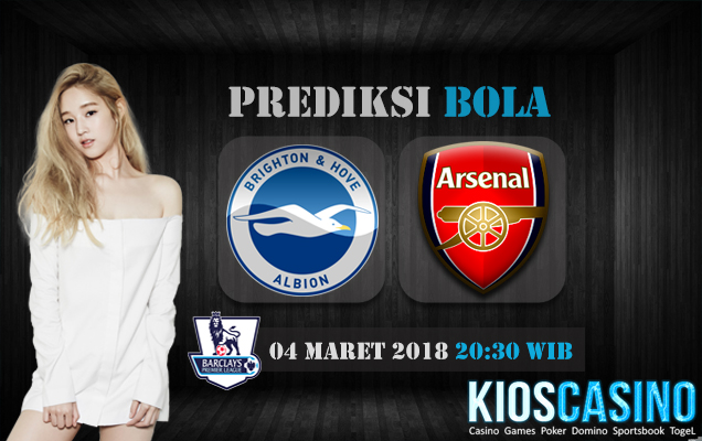 Prediksi Skor Brighton Hove Albion vs Arsenal 04 Maret 2018