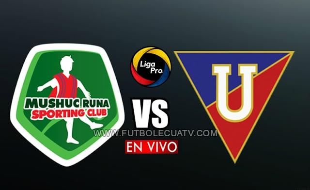 Mushuc Runa y Liga de Quito se enfrentan en vivo a partir de las 14h30 horario local, por la fecha seis del campeonato ecuatoriano, siendo emitido por GolTV Ecuador a efectuarse en el campo Echaleche. Con arbitraje principal de Guillermo Guerrero.