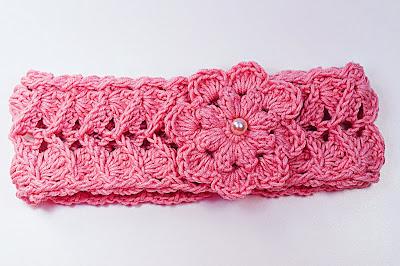 4 - Crochet IMAGEN Cinta para la cabeza rosa a crochet muy fácil y sencillo. MAJOVEL CROCHET