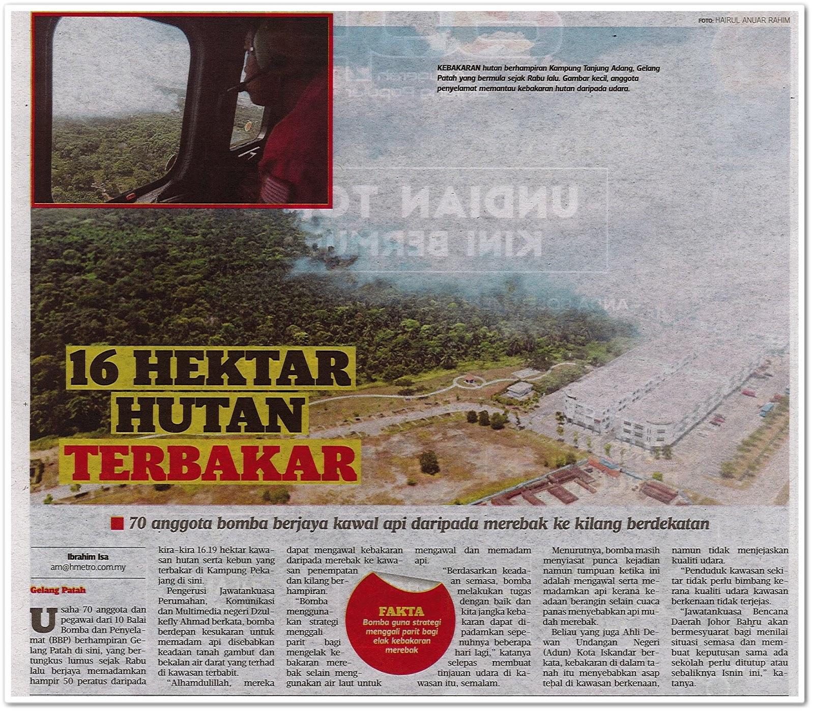 16 hektar hutan terbakar - Keratan akhbar Harian Metro 24 Ogos 2019