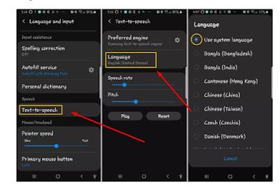 Cuplikan layar memperlihatkan cara menyesuaikan opsi untuk Android Text-to-Speech.
