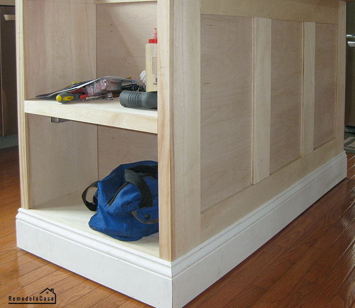how to add a shelf/bookcase to the kitchen island