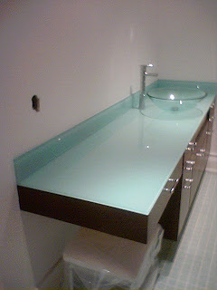 AINTED GLASS BATHROOM COUNTERTOP WITH GLASS BOWEL