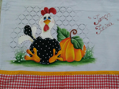 pintura em tecido galinha com abobora