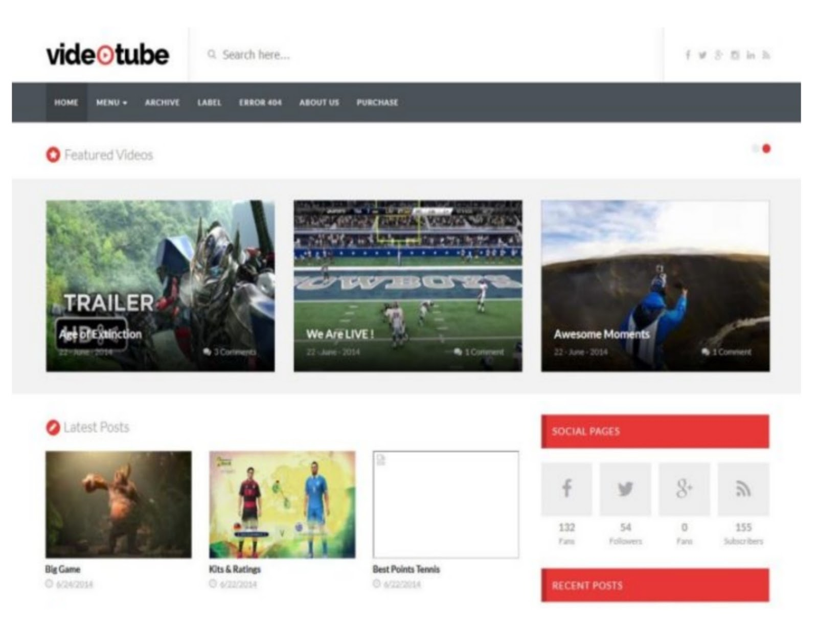 Video Tube Blogger Template