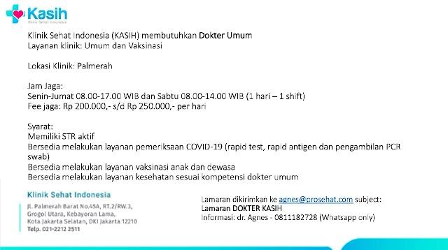 Loker Dokter Klinik Sehat Indonesia (KASIH)