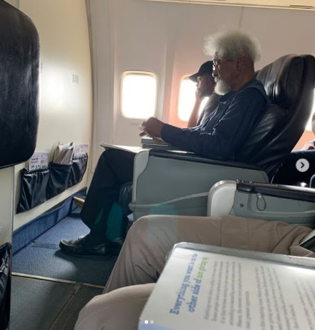 Nobel Laureate Prof Wole Soyinka reportedly ordered by a young Nigerian man, to vacate a flight seat for him