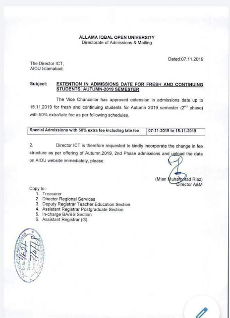 Aiou Admission udate extended notice