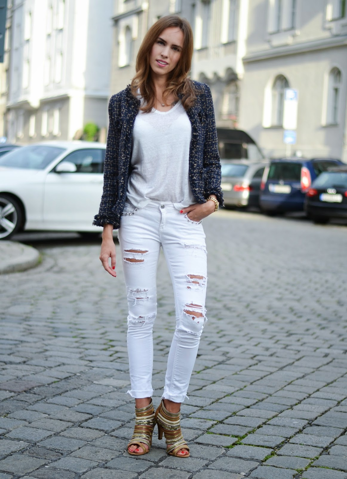 kristjaana mere white ripped gina tricot jeans summer outfit