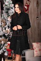 Palton elegant negru din lana • MBG